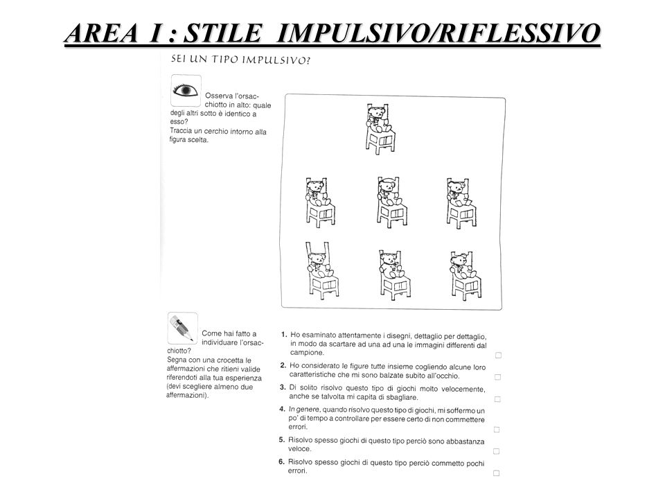 AREA I : STILE IMPULSIVO/RIFLESSIVO