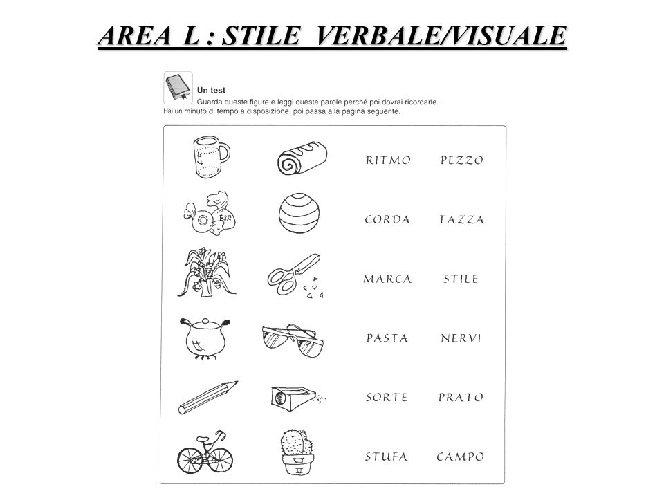 AREA L : STILE VERBALE/VISUALE