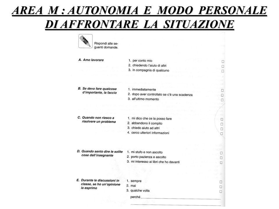 AREA M : AUTONOMIA E MODO PERSONALE DI AFFRONTARE LA SITUAZIONE
