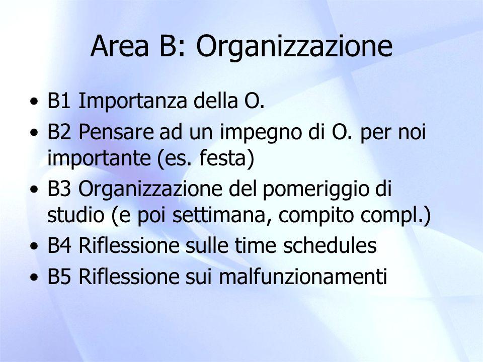 Area B: Organizzazione
