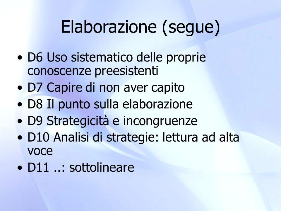 Elaborazione (segue) D6 Uso sistematico delle proprie conoscenze preesistenti. D7 Capire di non aver capito.
