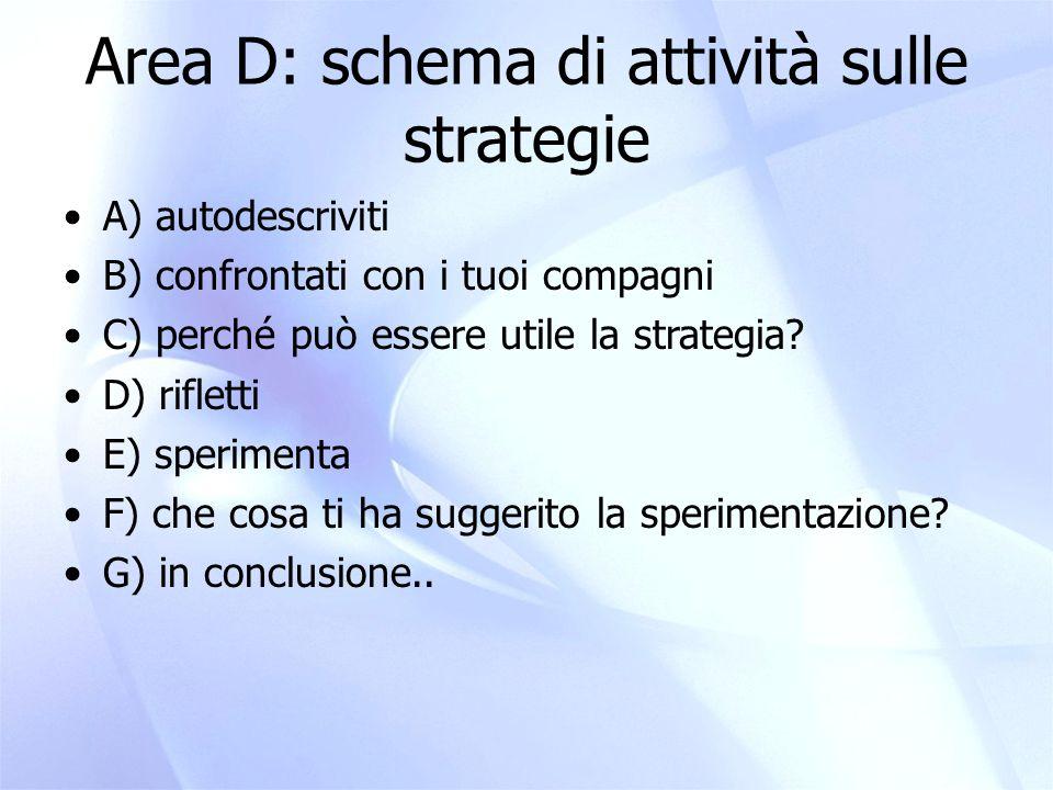 Area D: schema di attività sulle strategie