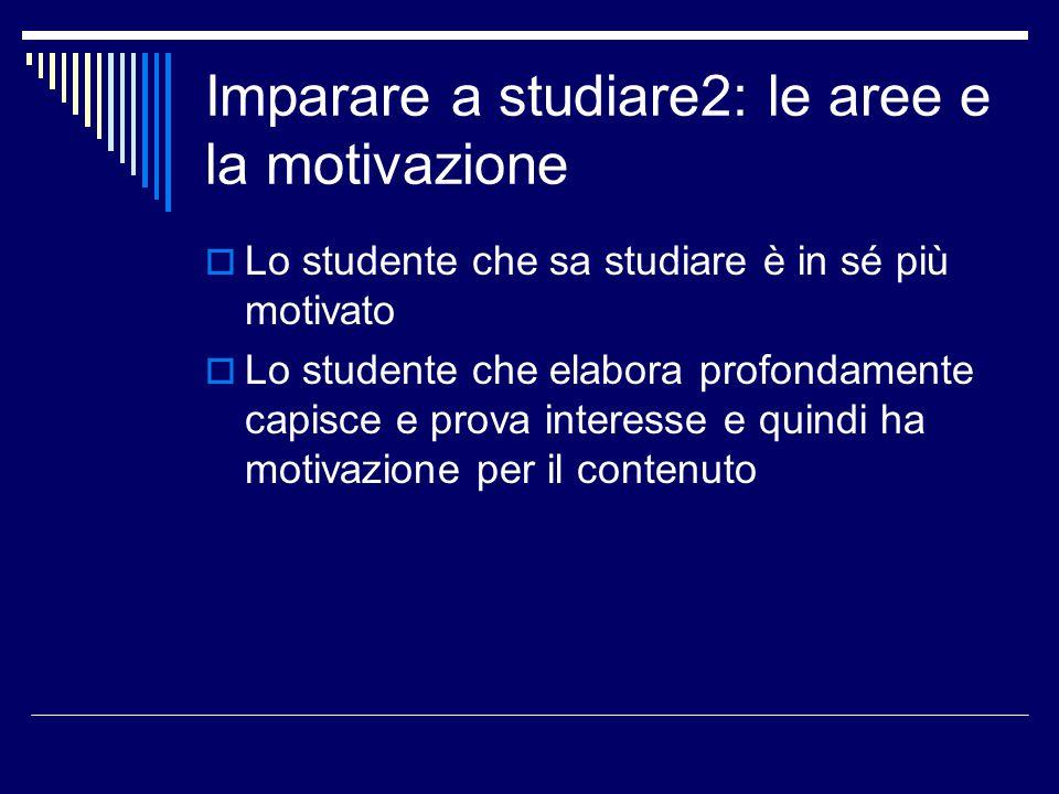 Imparare a studiare2: le aree e la motivazione