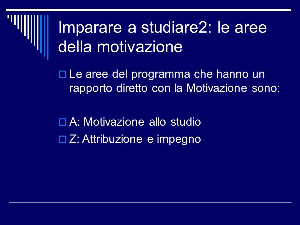 Imparare a studiare2: le aree della motivazione