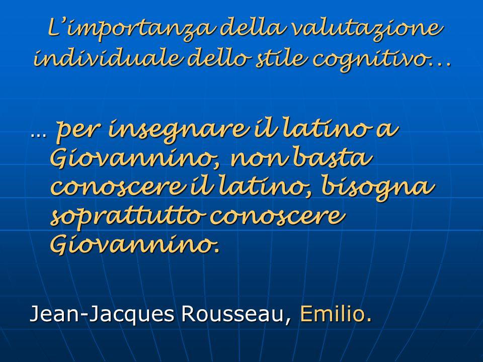 L'importanza della valutazione individuale dello stile cognitivo…