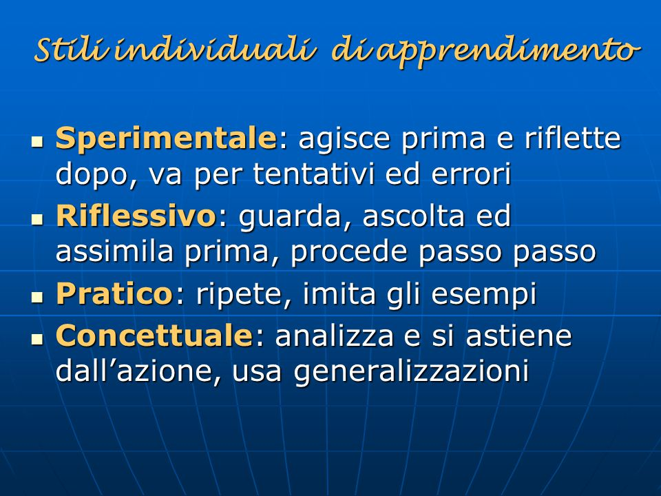 Stili individuali di apprendimento