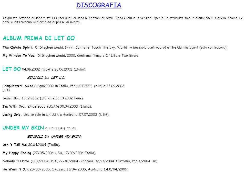 ALBUM PRIMA DI LET GO DISCOGRAFIA