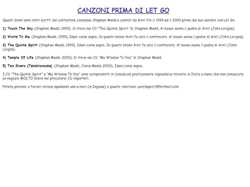 CANZONI PRIMA DI LET GO