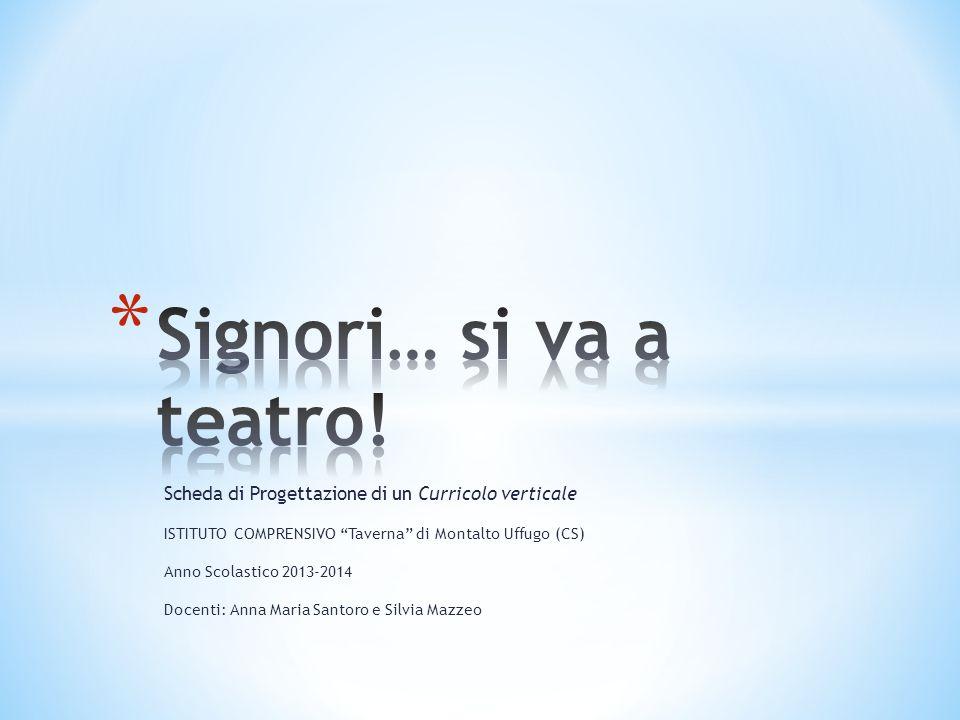 Signori… si va a teatro! Scheda di Progettazione di un Curricolo verticale. ISTITUTO COMPRENSIVO Taverna di Montalto Uffugo (CS)