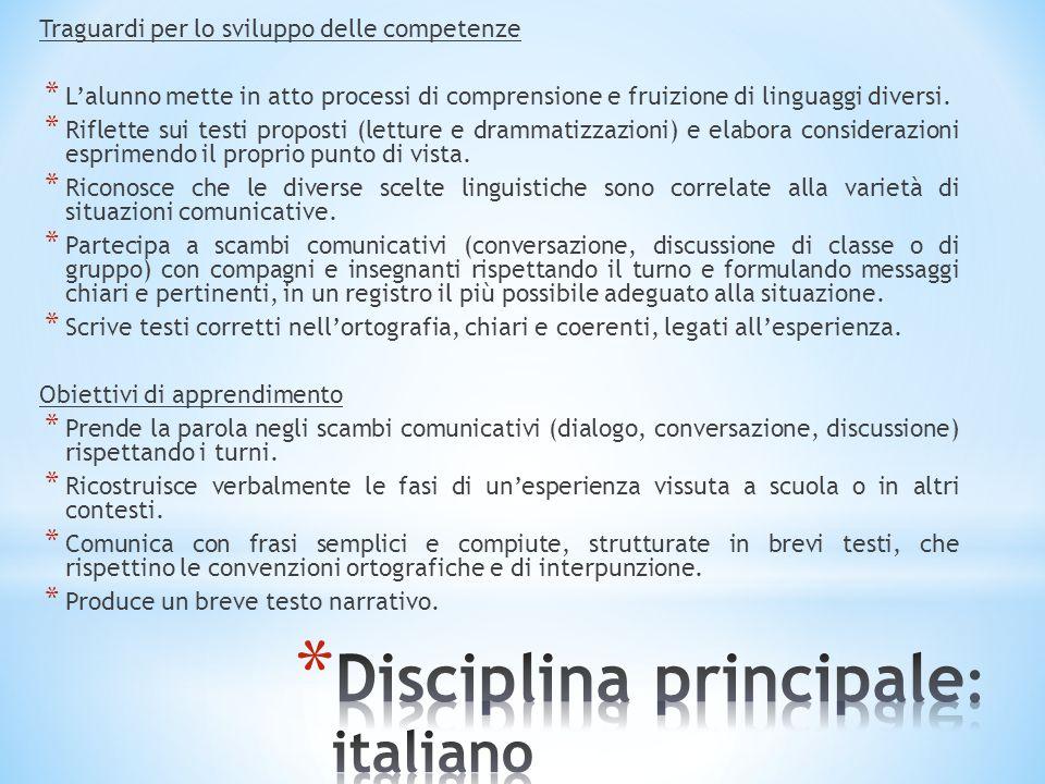 Disciplina principale: italiano