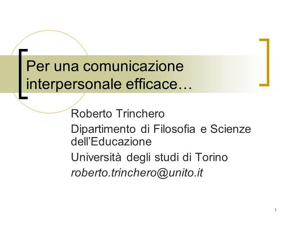 Per una comunicazione interpersonale efficace…