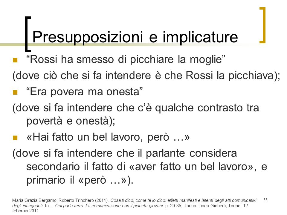 Presupposizioni e implicature