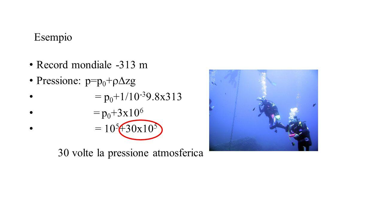 Esempio Record mondiale -313 m. Pressione: p=p0+rDzg. = p0+1/10-39.8x313. = p0+3x106. = 105+30x105.