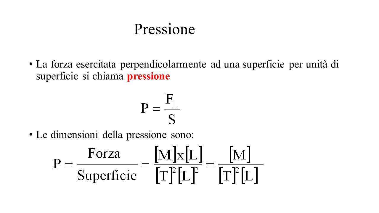 Pressione La forza esercitata perpendicolarmente ad una superficie per unità di superficie si chiama pressione.