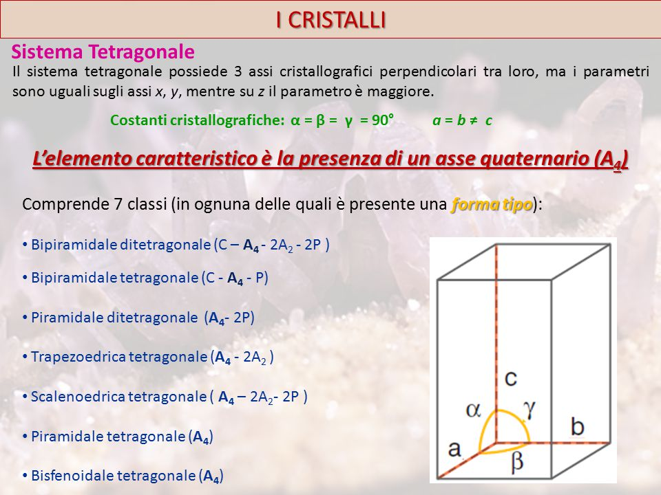 I CRISTALLI Sistema Tetragonale
