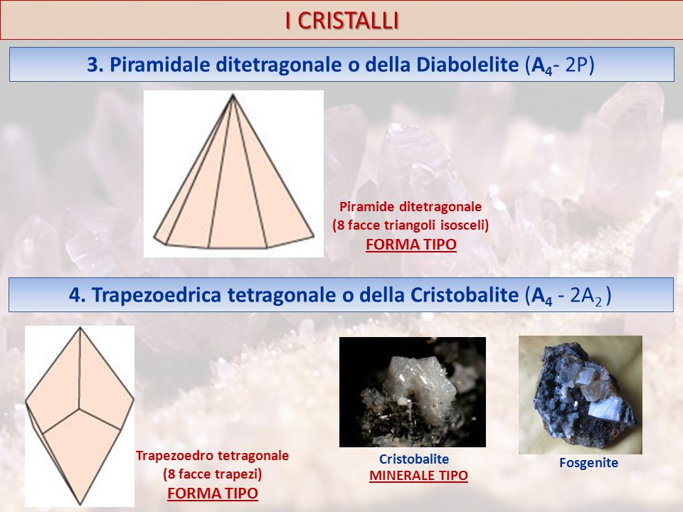 I CRISTALLI 3. Piramidale ditetragonale o della Diabolelite (A4- 2P)