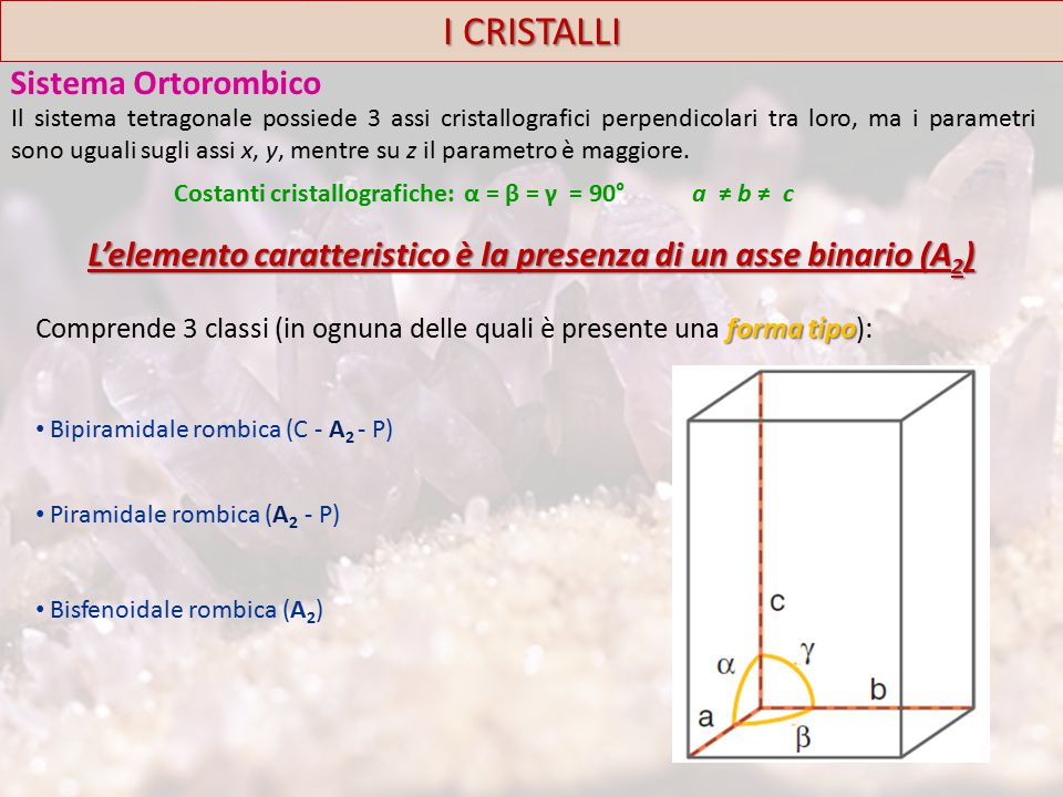 I CRISTALLI Sistema Ortorombico
