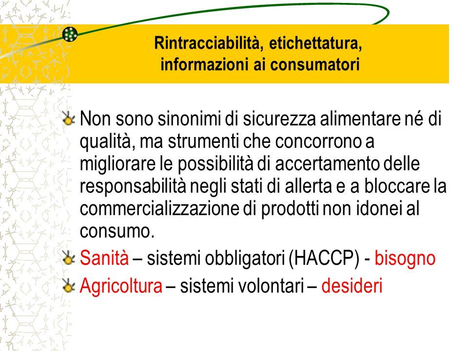 Rintracciabilità, etichettatura, informazioni ai consumatori