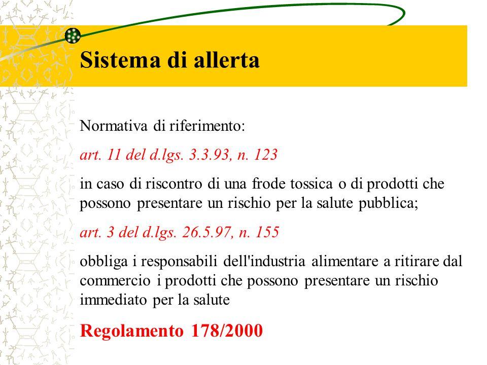 Sistema di allerta Regolamento 178/2000 Normativa di riferimento: