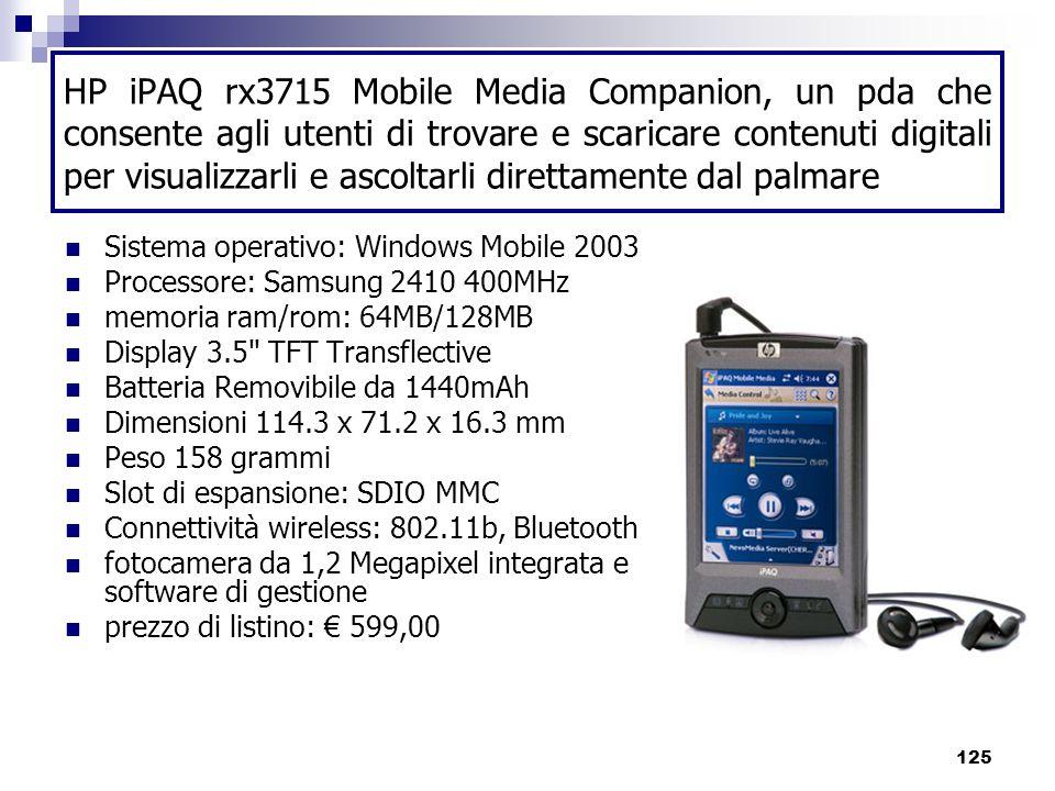 HP iPAQ rx3715 Mobile Media Companion, un pda che consente agli utenti di trovare e scaricare contenuti digitali per visualizzarli e ascoltarli direttamente dal palmare