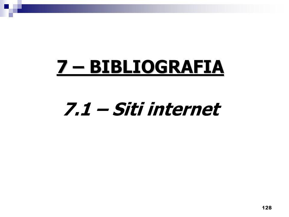 7 – BIBLIOGRAFIA 7.1 – Siti internet