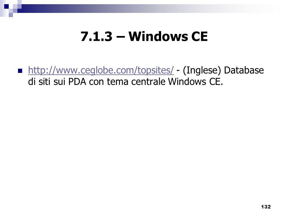 7.1.3 – Windows CE http://www.ceglobe.com/topsites/ - (Inglese) Database di siti sui PDA con tema centrale Windows CE.