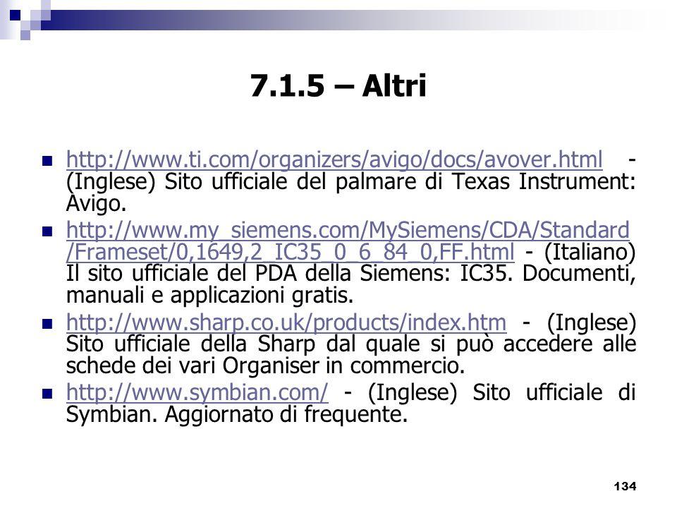 7.1.5 – Altri http://www.ti.com/organizers/avigo/docs/avover.html - (Inglese) Sito ufficiale del palmare di Texas Instrument: Avigo.