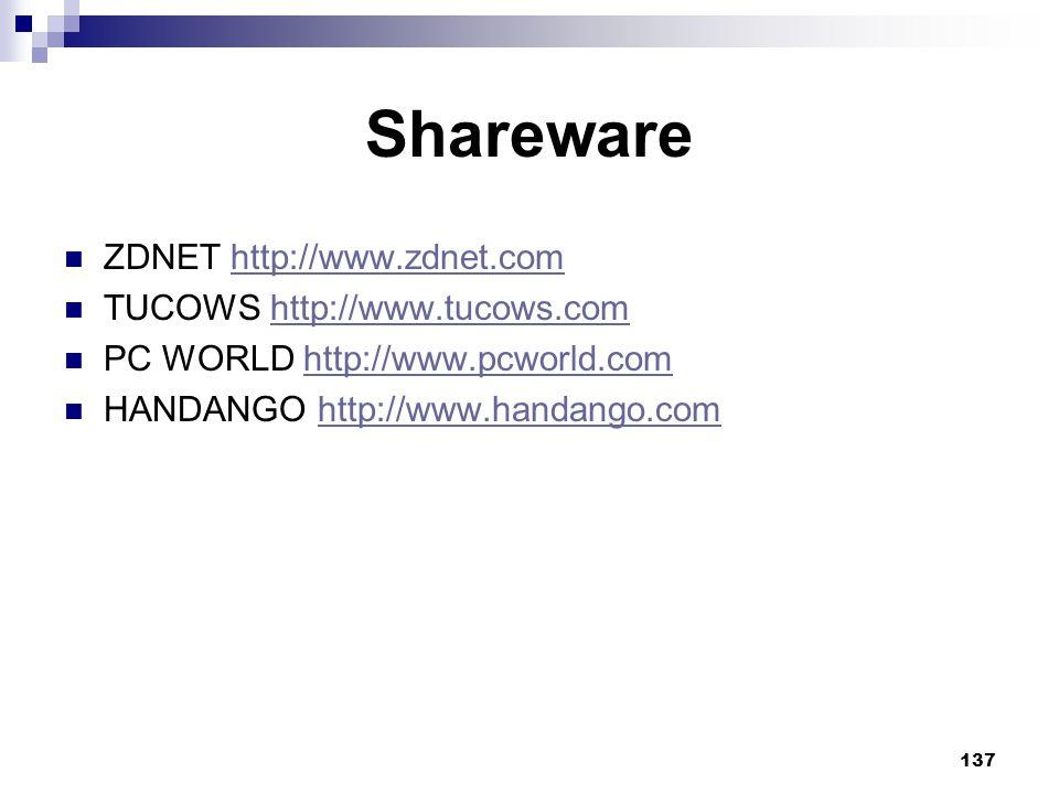 Shareware ZDNET http://www.zdnet.com TUCOWS http://www.tucows.com