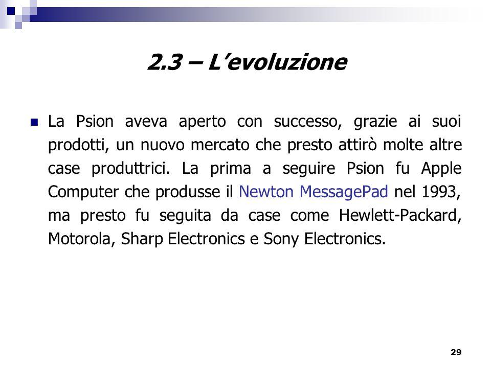 2.3 – L'evoluzione