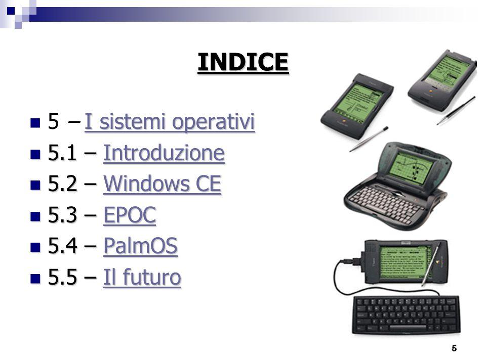INDICE 5 – I sistemi operativi 5.1 – Introduzione 5.2 – Windows CE