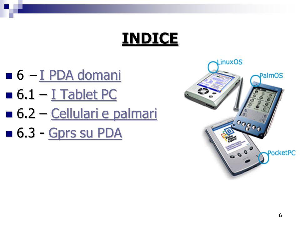 INDICE 6 – I PDA domani 6.1 – I Tablet PC 6.2 – Cellulari e palmari