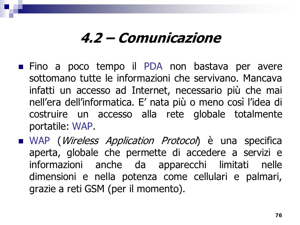 4.2 – Comunicazione
