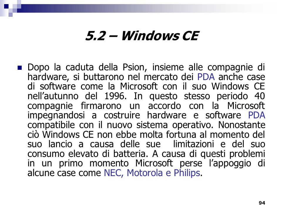 5.2 – Windows CE