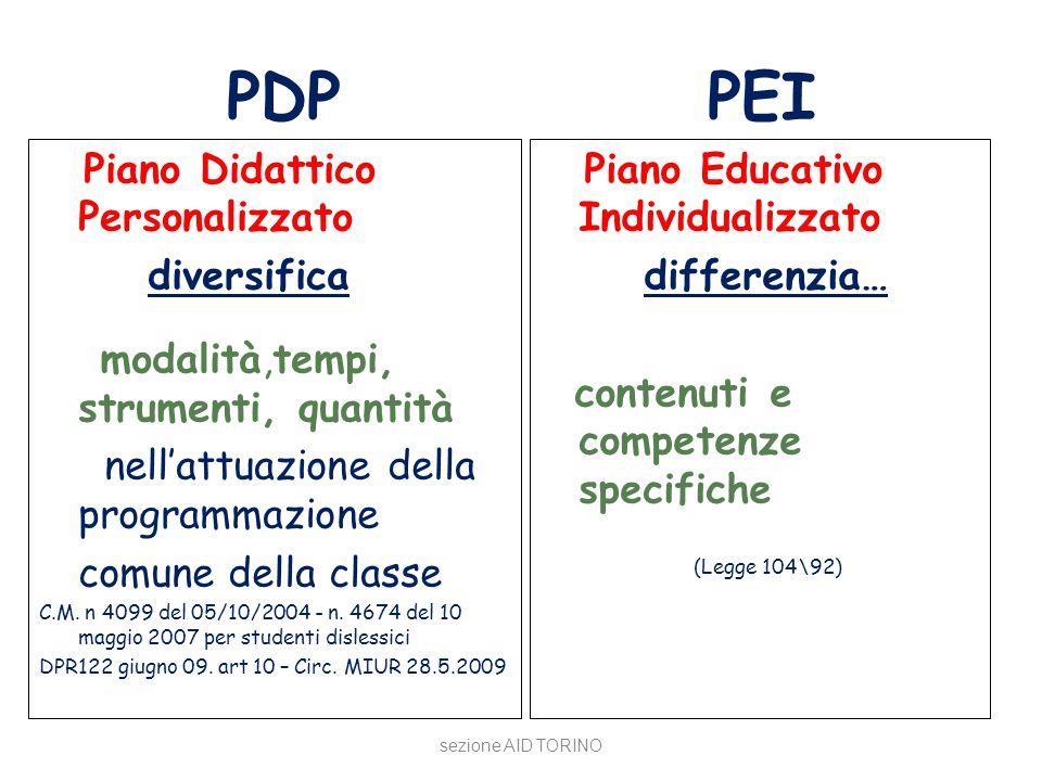 PDP PEI Piano Didattico Personalizzato diversifica