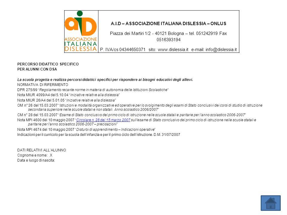 A.I.D – ASSOCIAZIONE ITALIANA DISLESSIA – ONLUS