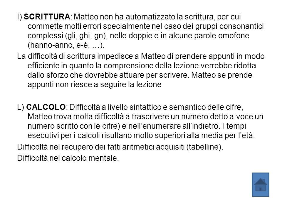 I) SCRITTURA: Matteo non ha automatizzato la scrittura, per cui commette molti errori specialmente nel caso dei gruppi consonantici complessi (gli, ghi, gn), nelle doppie e in alcune parole omofone (hanno-anno, e-è, …).