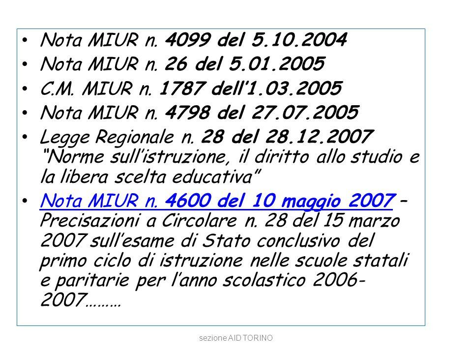 Nota MIUR n. 4099 del 5.10.2004 Nota MIUR n. 26 del 5.01.2005