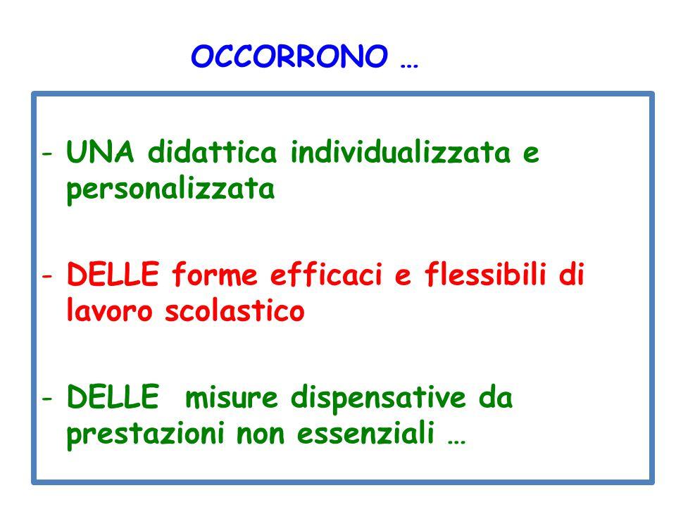 OCCORRONO … UNA didattica individualizzata e personalizzata. DELLE forme efficaci e flessibili di lavoro scolastico.