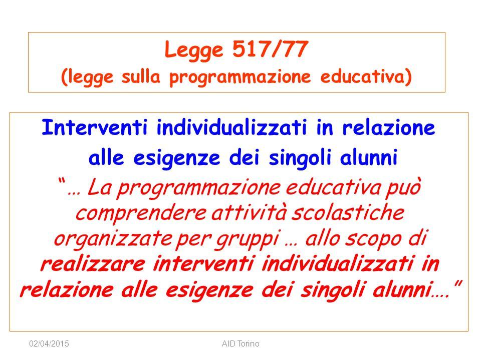 Legge 517/77 Interventi individualizzati in relazione