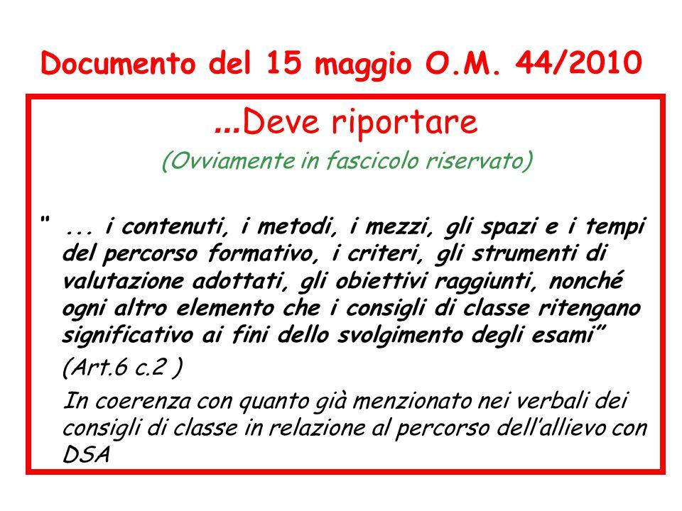 Documento del 15 maggio O.M. 44/2010