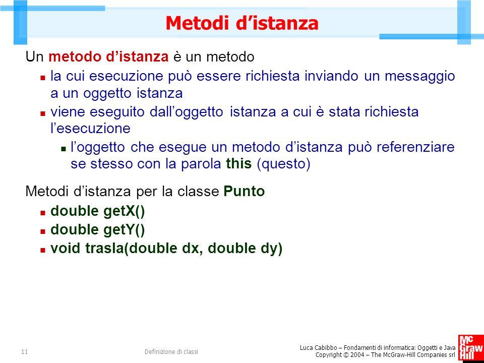 Metodi d'istanza Un metodo d'istanza è un metodo