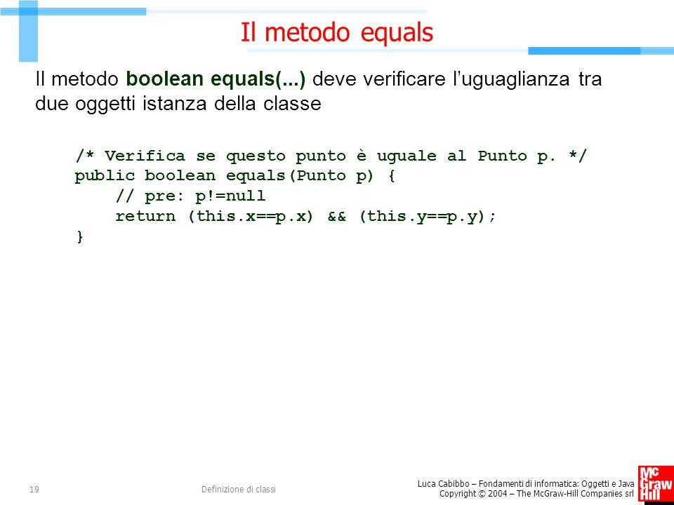 Il metodo equals Il metodo boolean equals(...) deve verificare l'uguaglianza tra due oggetti istanza della classe.