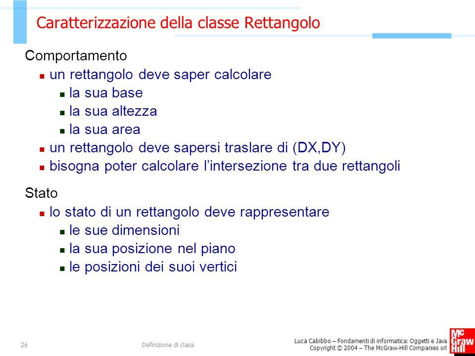 Caratterizzazione della classe Rettangolo