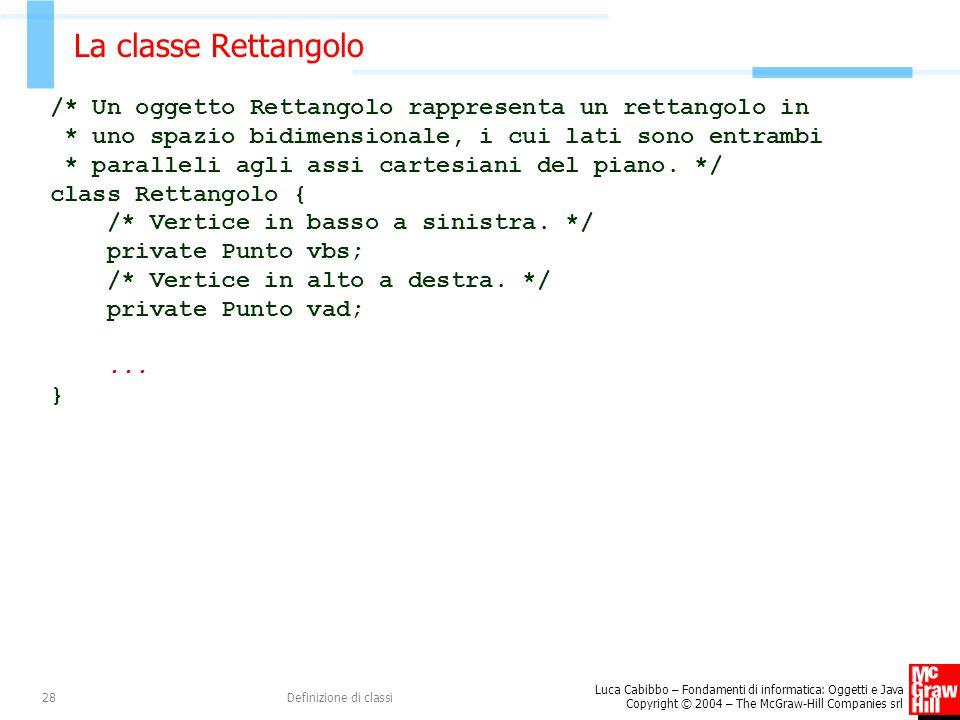 La classe Rettangolo /* Un oggetto Rettangolo rappresenta un rettangolo in. * uno spazio bidimensionale, i cui lati sono entrambi.