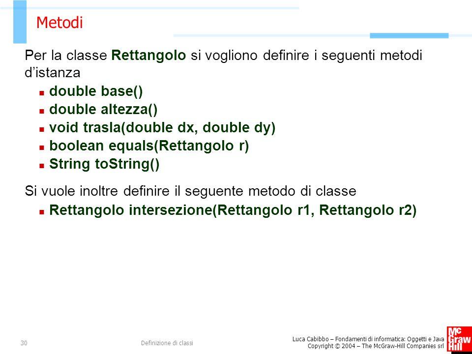 Metodi Per la classe Rettangolo si vogliono definire i seguenti metodi d'istanza. double base() double altezza()
