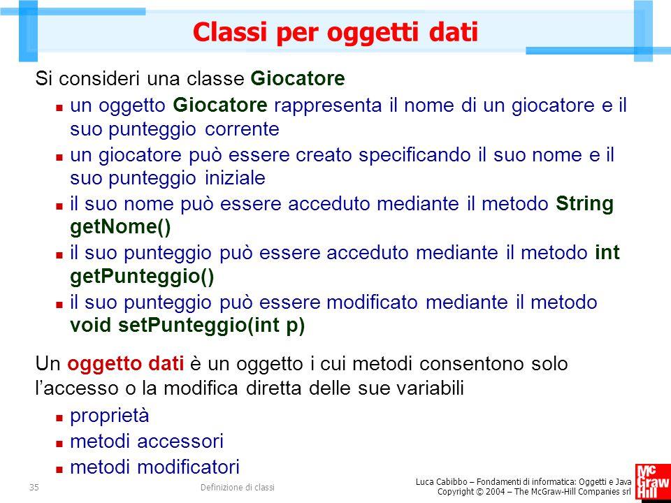 Classi per oggetti dati