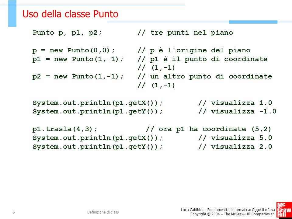 Uso della classe Punto Punto p, p1, p2; // tre punti nel piano