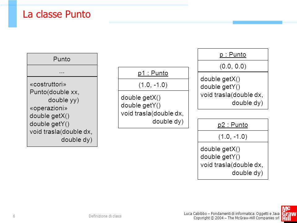 La classe Punto p : Punto Punto (0.0, 0.0) ... p1 : Punto