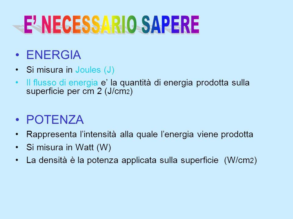 E' NECESSARIO SAPERE ENERGIA POTENZA Si misura in Joules (J)