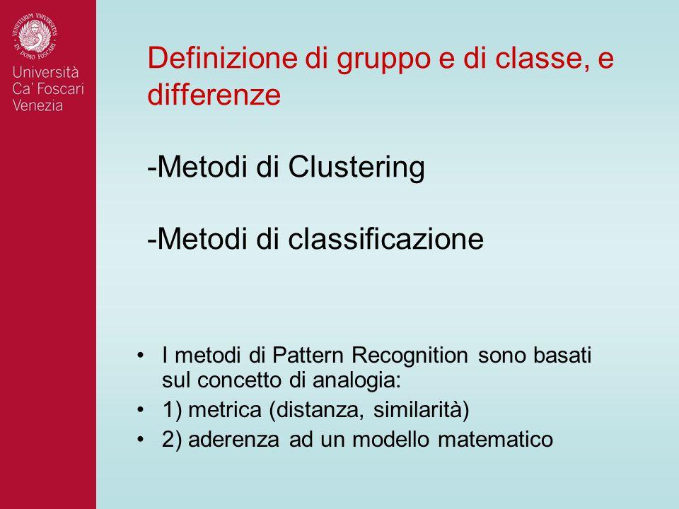 Definizione di gruppo e di classe, e differenze -Metodi di Clustering -Metodi di classificazione